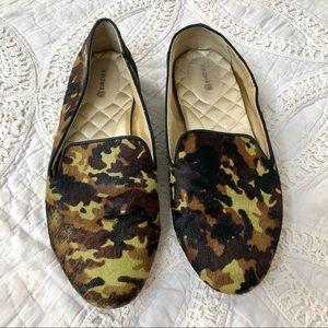 Birdies Flats The Blackbird Camo Calf Hair Shoes